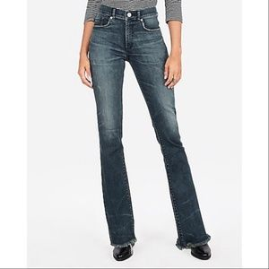 Express High Rise Barely Bootcut Raw Hem Jeans